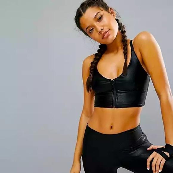 ASOS body black foil zip yoga crop US L
